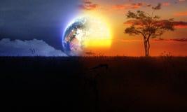 日夜与树太阳和月亮 免版税库存照片