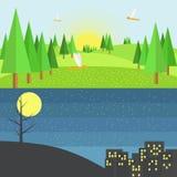 日夜小山场面  平的样式传染媒介设计 免版税库存照片