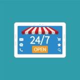日夜现代片剂个人计算机的网上商店的概念 向量例证