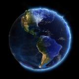 日实际地球的晚上 图库摄影