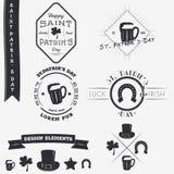 日帕特里克s圣徒 套印刷徽章设计元素,设计师工具箱 库存图片