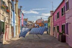 日常生活在Burano 免版税库存照片
