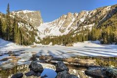 日志和冰砾在解冻梦想湖 图库摄影