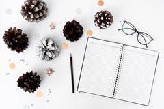 日志圣诞节时间的圣诞节构成 锥体和圣诞节装饰在白色背景 免版税库存照片