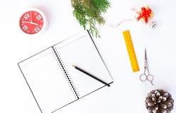 日志圣诞节构成 圣诞节装饰和杉木锥体和分支在白色背景 平的位置,顶视图 库存图片