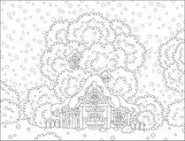 日志小屋积雪在圣诞节 免版税库存图片