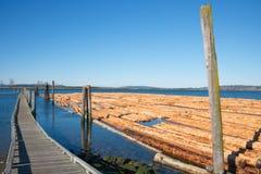 日志景气木材产业 免版税库存照片