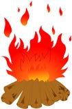 日志烧。 在空白背景的篝火 免版税库存照片