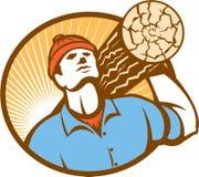 日志记录器林务员伐木工人运载减速火箭的日志 皇族释放例证