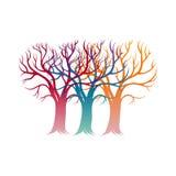 日愉快的华伦泰 与爱树的卡片 免版税库存图片