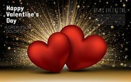 日愉快的华伦泰 金黄豪华典雅的心脏爱闪烁背景 布局模板设计卡片 库存图片