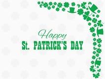 日愉快的帕特里克s st 妖精帽子和绿色三叶草叶子 欢乐横幅,贺卡 印刷术设计 向量 库存照片