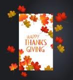 日愉快的感恩 与秋天槭树叶子的白色空白 库存例证