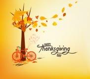 日愉快的感恩 有秋叶的手拉的tintage自行车 库存例证