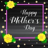 日愉快的母亲 与框架的问候横幅的您的祝贺卡片 现实colorfull,明亮,春天花 免版税库存图片
