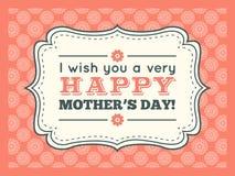 日愉快的母亲 印刷术信件字体类型 免版税库存图片