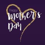 日愉快的母亲 您的祝贺卡片的问候横幅 与金子闪烁的大手图画心脏 准备好 库存图片