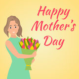 日愉快的母亲 有美丽的五颜六色的花的妇女 库存图片