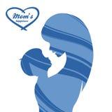 日愉快的母亲 母性和童年 彩色插图 免版税库存照片