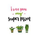 日愉快的母亲 递与文本的字法我爱你我的超级妈妈 与花的传染媒介可印的海报 免版税库存照片