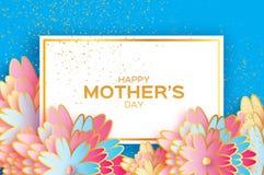 日愉快的母亲 Origami金子花卉贺卡 纸刻花 长方形框架 免版税库存照片
