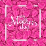 日愉快的母亲s 桃红色玫瑰花瓣贺卡  开花瓣 我爱母亲 与书法文本的框架 传染媒介不适 图库摄影