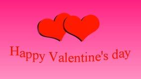 日愉快的s华伦泰 在桃红色背景的心脏 股票视频