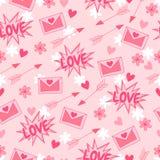 日愉快的s华伦泰 爱 导航与箭头、心脏、花和信件的背景 库存照片