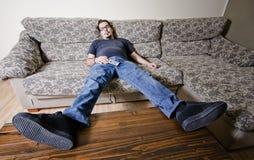 终日懒散在家的人 图库摄影