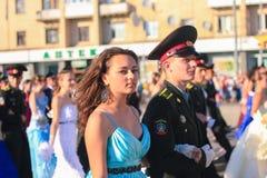 日托米尔,乌克兰- 2014年5月19日:跳舞在球的军事和民用人民 免版税库存照片