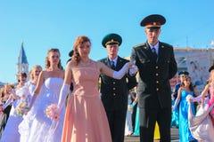 日托米尔,乌克兰- 2014年5月19日:跳舞在球的军事和民用人民 图库摄影
