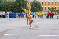 日托米尔,乌克兰- 2015年5月03日:balerina竞争的女孩 库存照片