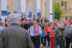 日托米尔,乌克兰- 2015年6月20日:激进党有干草叉的Oleg Lyashko的领导人 库存图片