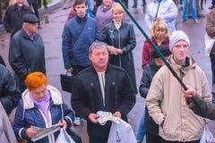 日托米尔,乌克兰- 2015年5月5日:激进党Oleg Lyashko的领导人支持的企业家的要求 免版税库存图片