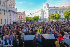 日托米尔,乌克兰- 2015年6月20日:激进党Oleg Lyashko的领导人支持的企业家的要求 库存图片