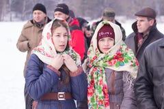 日托米尔,乌克兰- 2016年1月19日:头巾的女孩 免版税库存图片