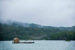 日月潭在南投县,台湾渔船 免版税库存图片