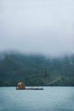 日月潭在南投县,台湾渔船 免版税库存照片