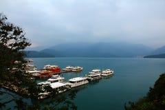 日月潭风景在台湾 库存照片