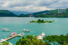 日月潭风景在台湾 免版税库存照片