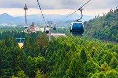 日月潭索道是一项风景长平底船缆车服务 免版税库存图片