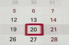 日期今天显示由白色日历 免版税库存照片