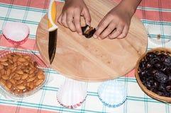 日期和孩子的手 免版税库存图片