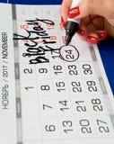 日期2017年11月24日在日历被标记 图库摄影