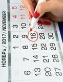 日期2017年11月16日在日历被标记 免版税图库摄影