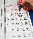 日期2017年11月24日在日历被标记 免版税库存照片