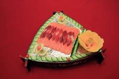 日本三文鱼盘 免版税库存图片