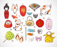 日本上色了乱画剪影元素 日本的符号 免版税库存图片