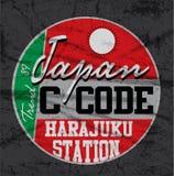 日本东京印刷术, T恤杉图表,传染媒介 免版税库存图片