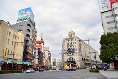 日本东京senso区街景画  库存图片
